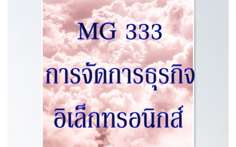 MG 333 การจัดการธุรกิจอิเล็กทรอนิกส์