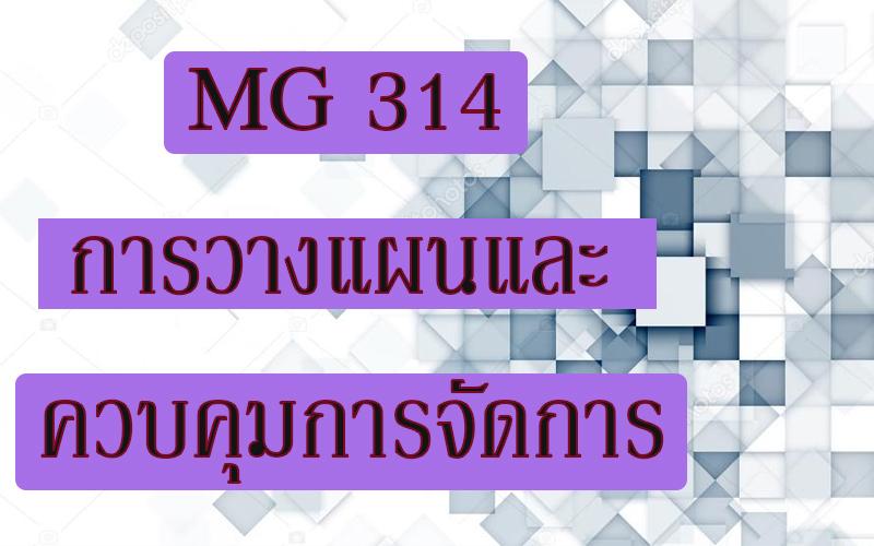 MG 314 การวางแผนและควบคุมการจัดการ